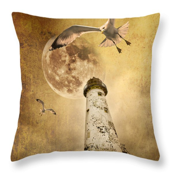 lunar flight Throw Pillow by Meirion Matthias