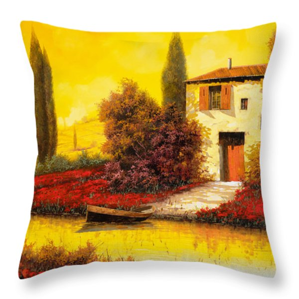 lungo il fiume tra i papaveri Throw Pillow by Guido Borelli