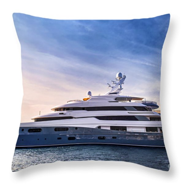 Luxury yacht Throw Pillow by Elena Elisseeva