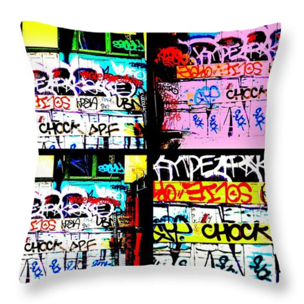 Lyon Graffiti Walls Throw Pillow by Funkpix Photo Hunter