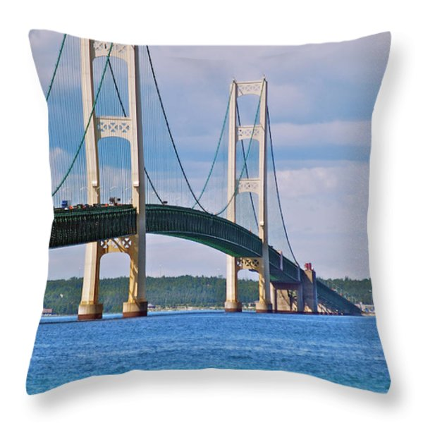 Mackinac Bridge Throw Pillow by Michael Peychich