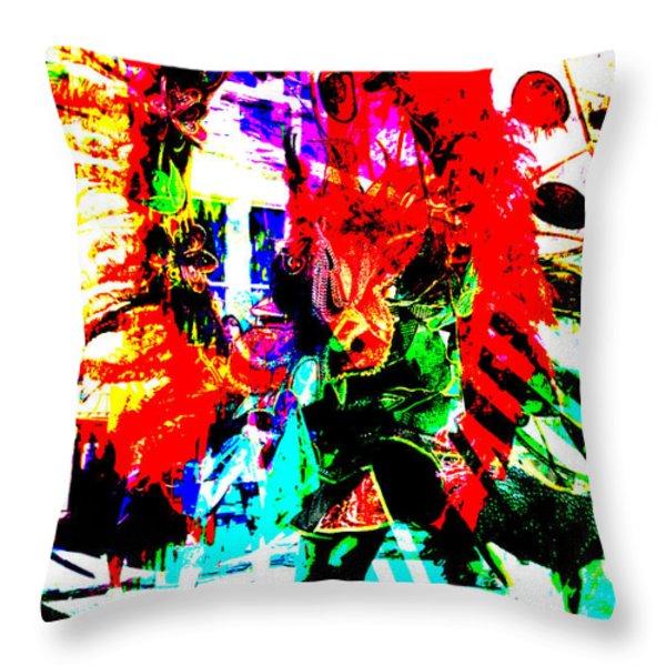 Madi Gras Throw Pillow by Brian Roscorla