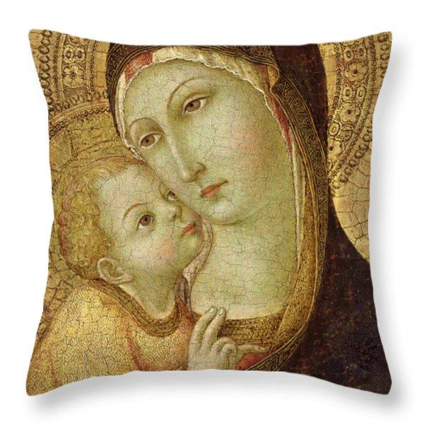 Madonna And Child Throw Pillow by Ansano di Pietro di Mencio