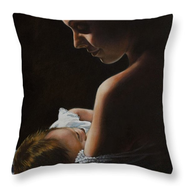 Madonna and Child Throw Pillow by Harvie Brown