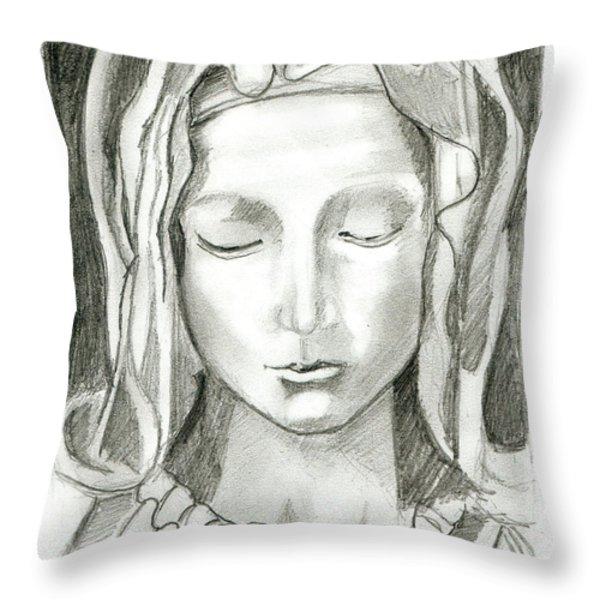Madonna Of The Pieta Throw Pillow by John Keaton