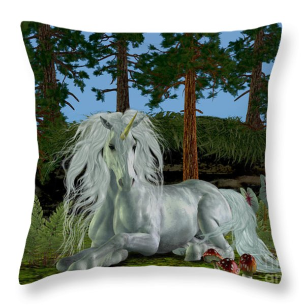 Magic Woodland Throw Pillow by Corey Ford