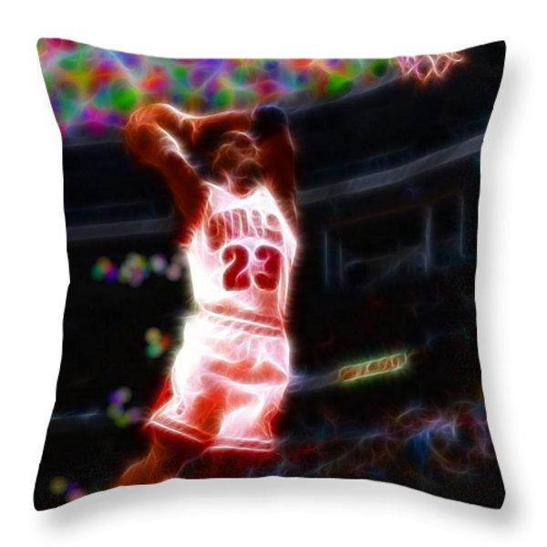Magical Michael Jordan White Jersey Throw Pillow by Paul Van Scott