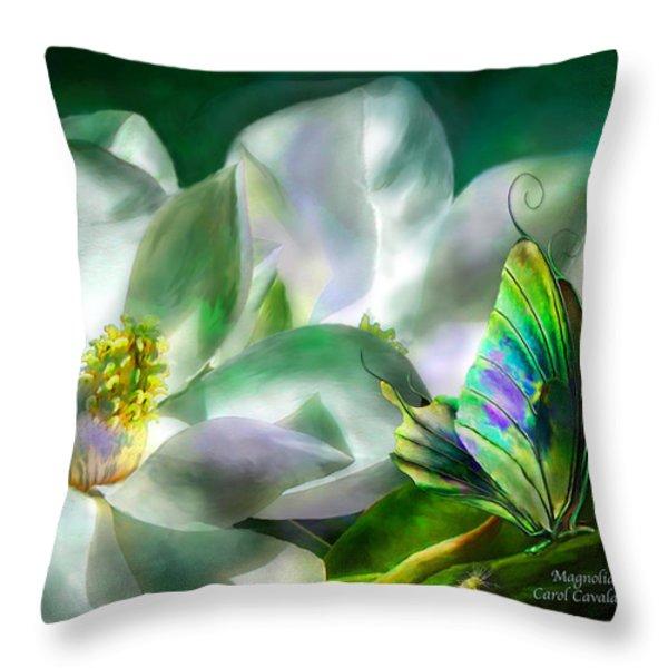 Magnolia Throw Pillow by Carol Cavalaris
