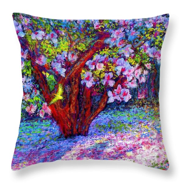 Magnolia Melody Throw Pillow by Jane Small