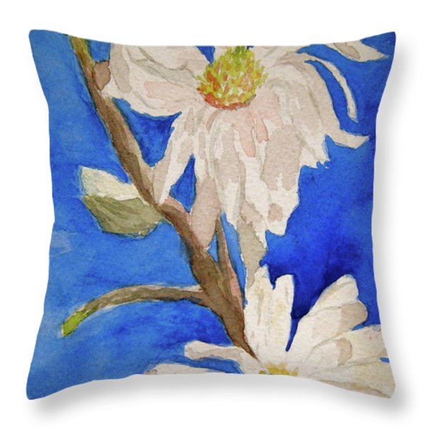 Magnolia Stellata Blue Skies Throw Pillow by Beverley Harper Tinsley