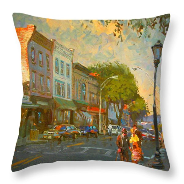 Main Street Nyack NY  Throw Pillow by Ylli Haruni