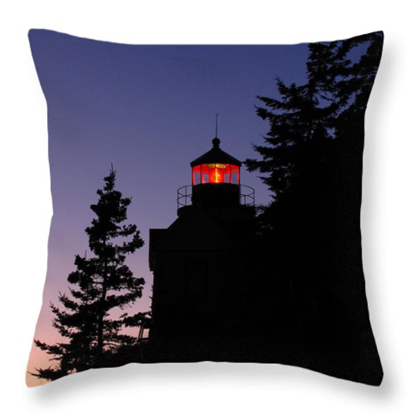 Maine Lighthouse Throw Pillow by Juergen Roth