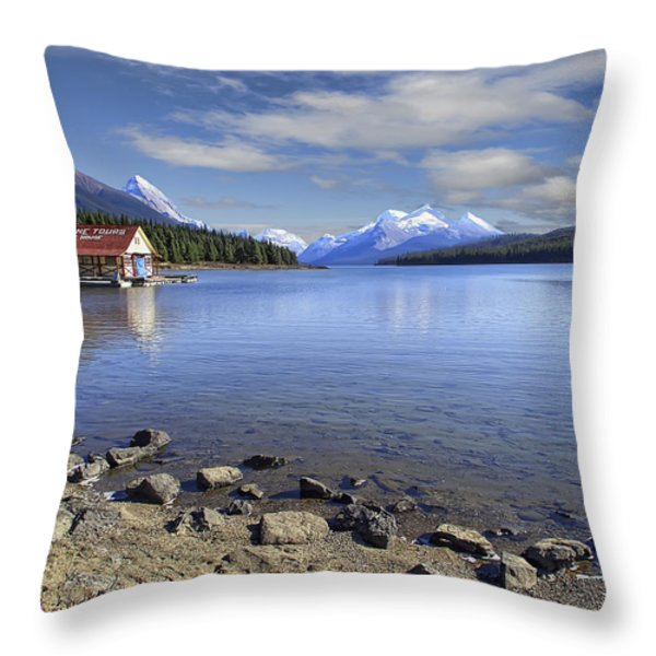 Maligne Lake -- Jasper Alberta Canada Throw Pillow by Daniel Hagerman