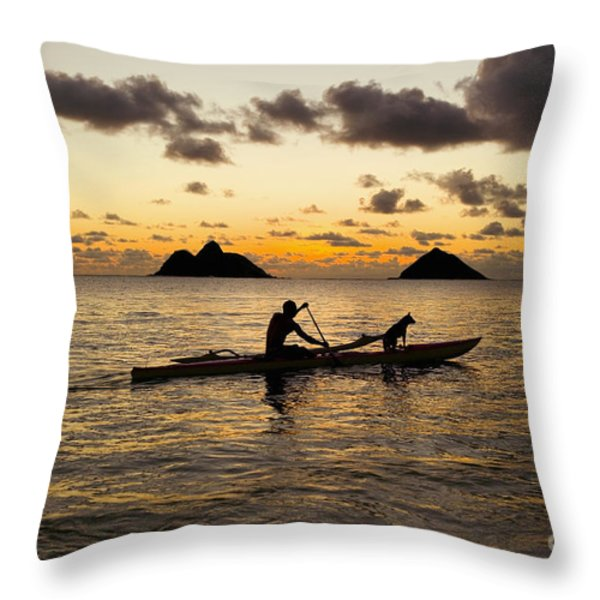 Man And Dog In Canoe Throw Pillow by Dana Edmunds - Printscapes