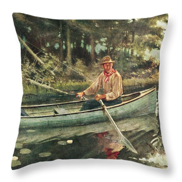 Man and Woman Fishing Throw Pillow by JQ Licensing