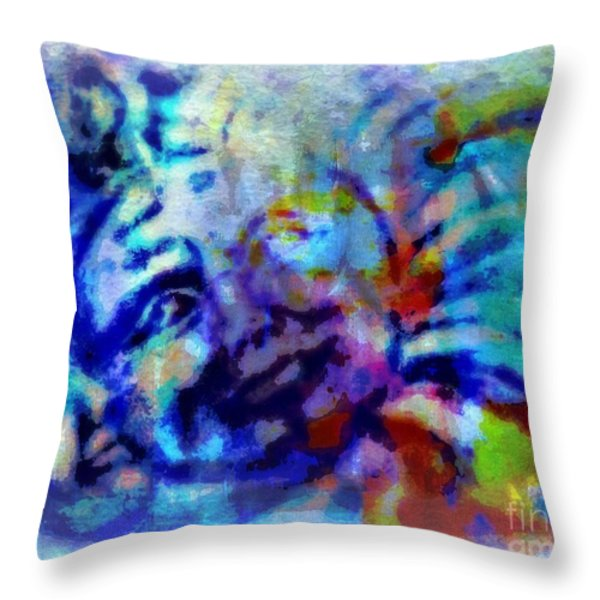 Man In The Moon Throw Pillow by WBK