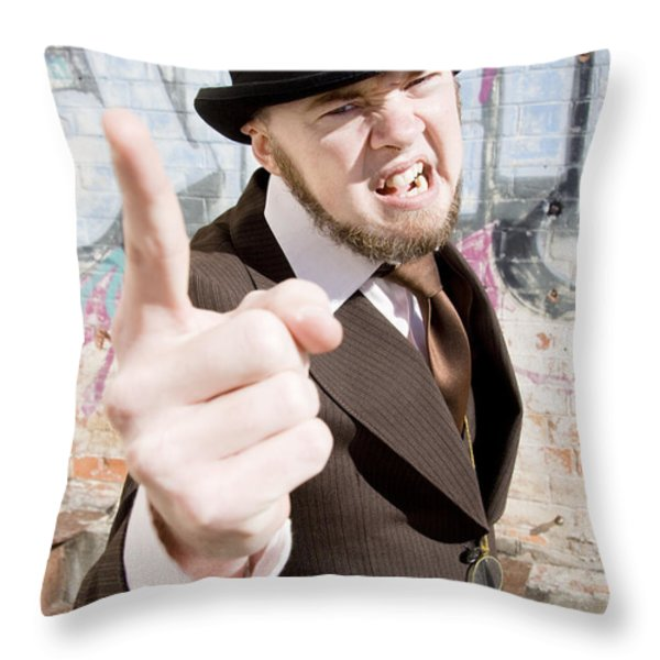 Man Making A Point Throw Pillow by Ryan Jorgensen
