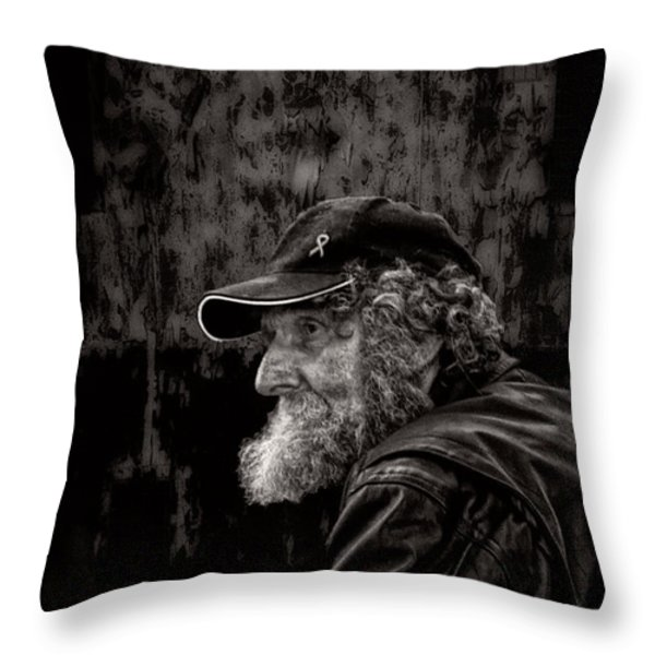 Man With A Beard Throw Pillow by Bob Orsillo