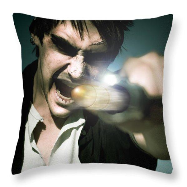 Man With Gun Throw Pillow by Ryan Jorgensen
