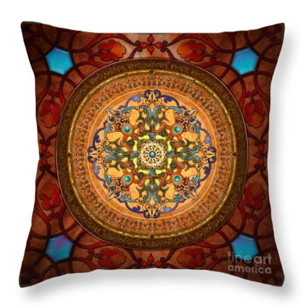 Mandala Arabia Throw Pillow by Bedros Awak