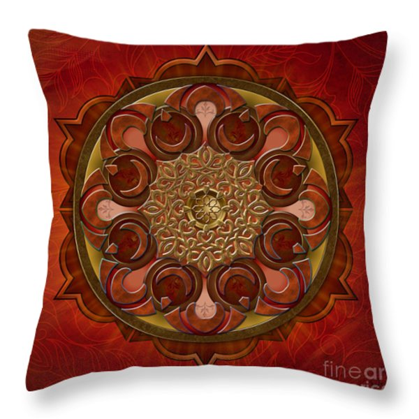 Mandala Flames Throw Pillow by Bedros Awak
