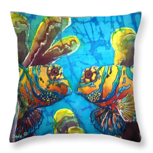 Mandarinfish- Bordered Throw Pillow by Sue Duda