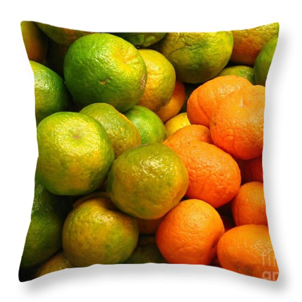 Mandarins And Tangerines Throw Pillow by Yali Shi
