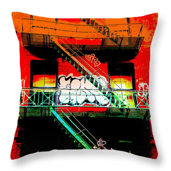 Manhattan Fire Escape Throw Pillow by Funkpix Photo Hunter
