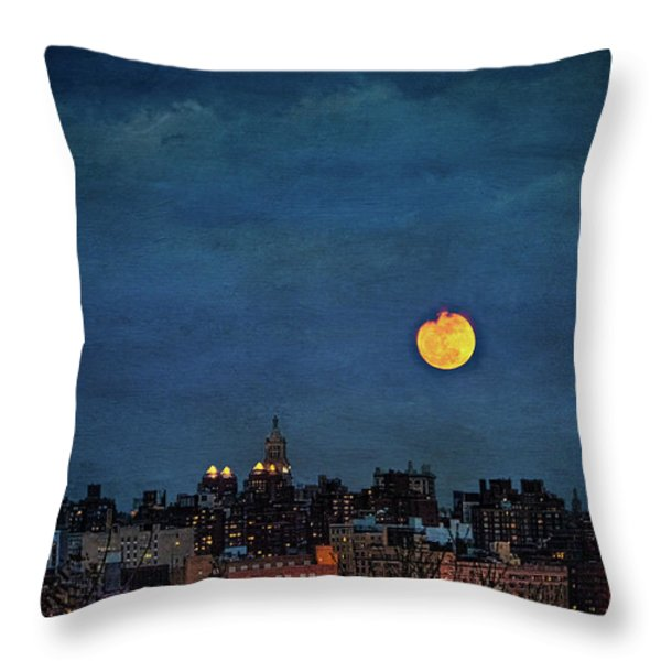 Manhattan Moonrise Throw Pillow by Chris Lord