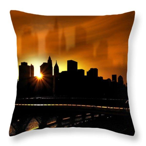 Manhattan Silhouette Throw Pillow by Svetlana Sewell