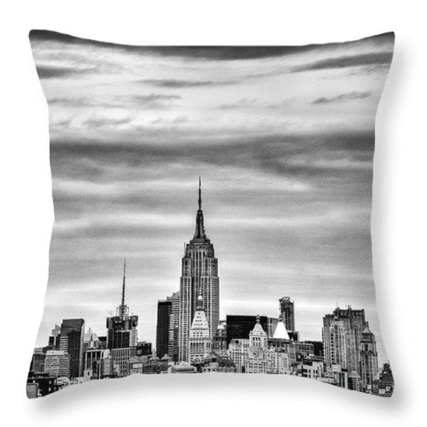 Manhattan Skyline Throw Pillow by John Farnan