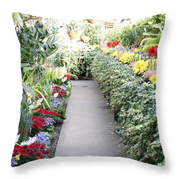 Manito Park Conservatory Throw Pillow by Carol Groenen