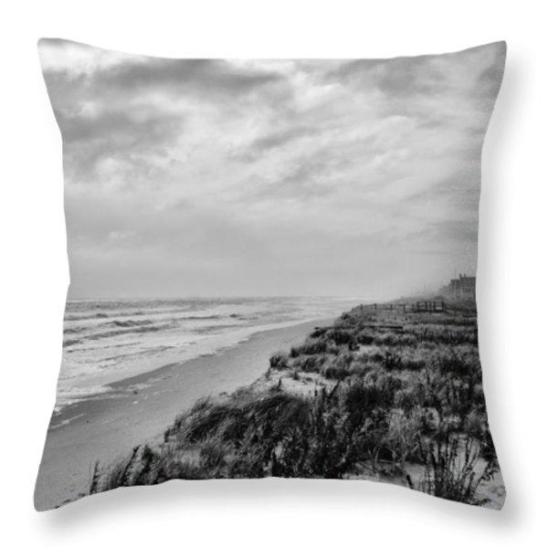 Mantoloking Beach - Jersey Shore Throw Pillow by Angie Tirado