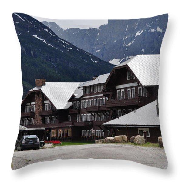 Many Glacier Lodge Throw Pillow by Diana Nigon