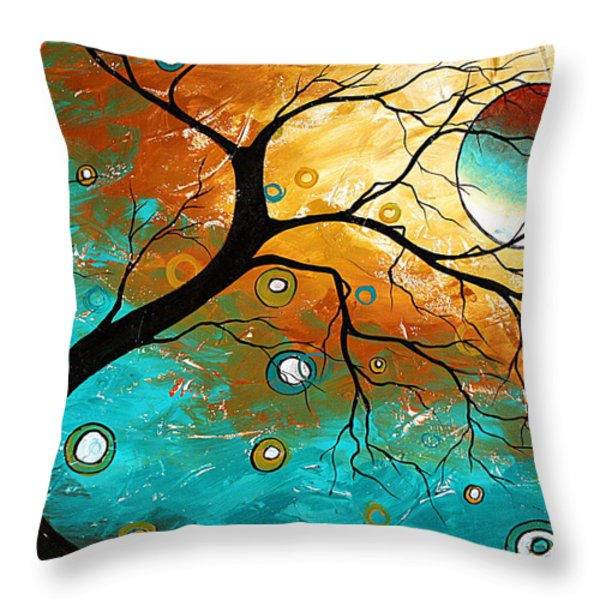 Many Moons Ago By Madart Throw Pillow by Megan Duncanson