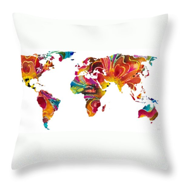 Map of The World 2 -Colorful Abstract Art Throw Pillow by Sharon Cummings