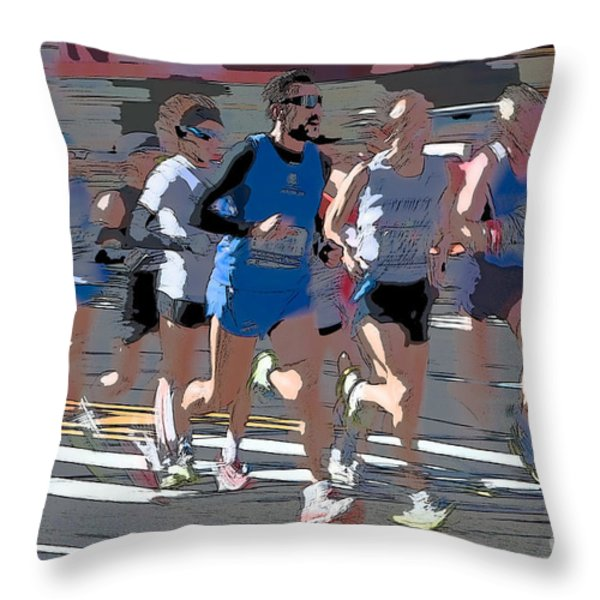 Marathon Runners I Throw Pillow by Clarence Holmes