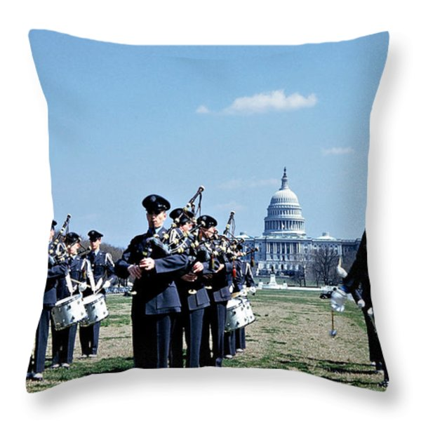Marching Band at Capitol Throw Pillow by Marilyn Hunt