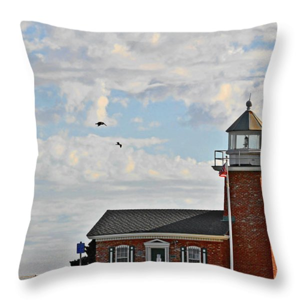 Mark Abbott Memorial Lighthouse  - Home of the Santa Cruz Surfing Museum CA USA Throw Pillow by Christine Till