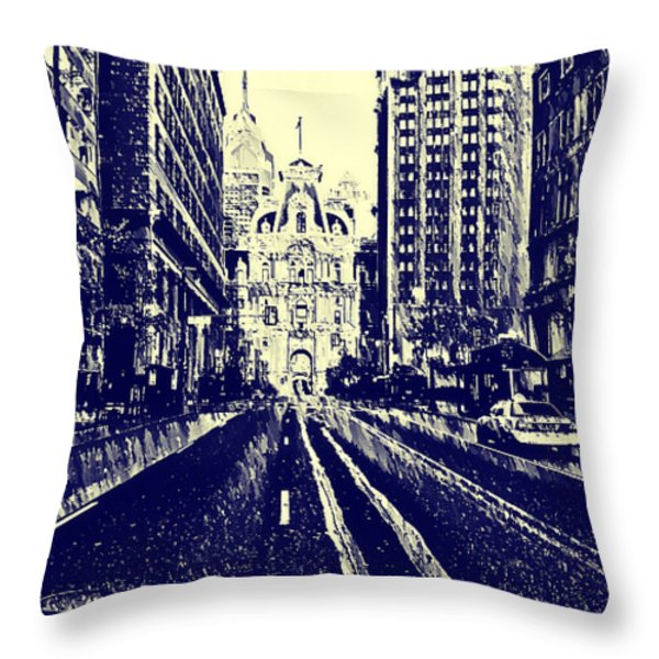 Market Street  Throw Pillow by Bill Cannon