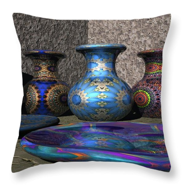 Marrakesh Open Air Market Throw Pillow by Lyle Hatch