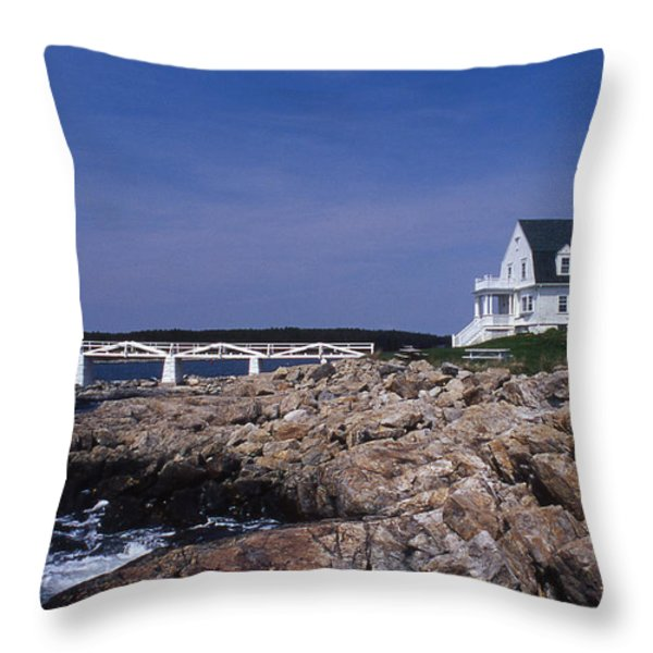 Marshall Point Light Throw Pillow by Skip Willits