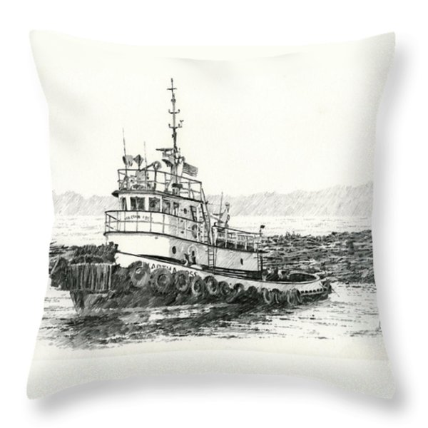 Martha Foss Log Assist Throw Pillow by James Williamson