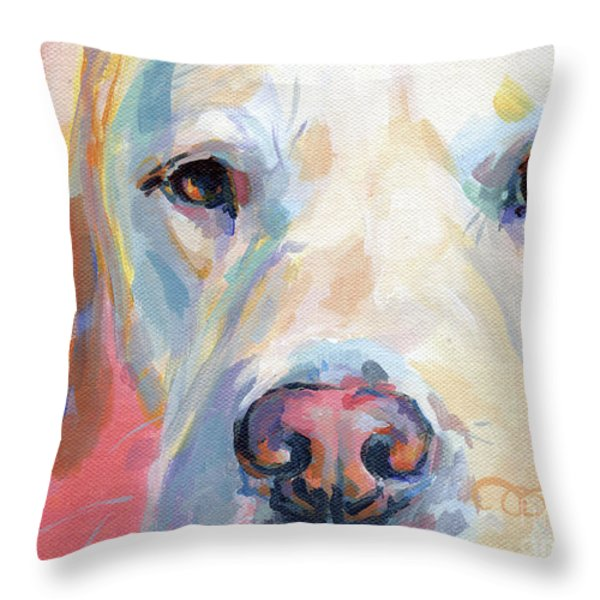 Martha's Pink Nose Throw Pillow by Kimberly Santini