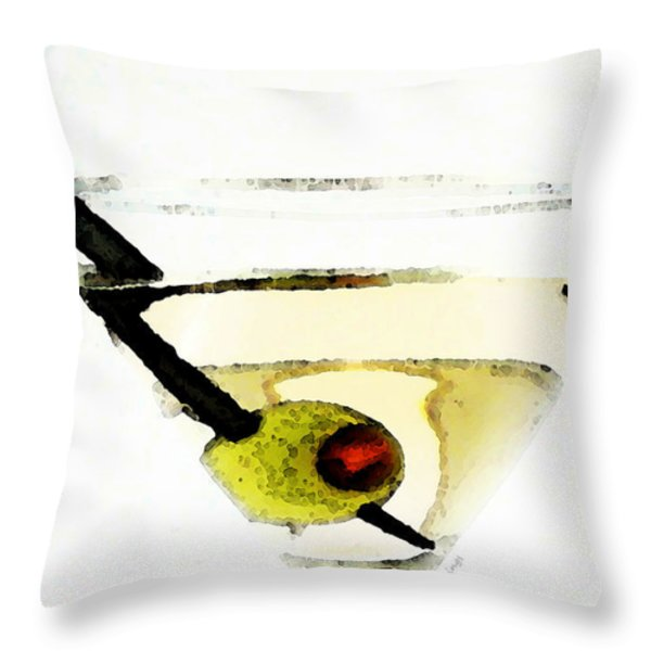 Martini With Green Olive Throw Pillow by Sharon Cummings