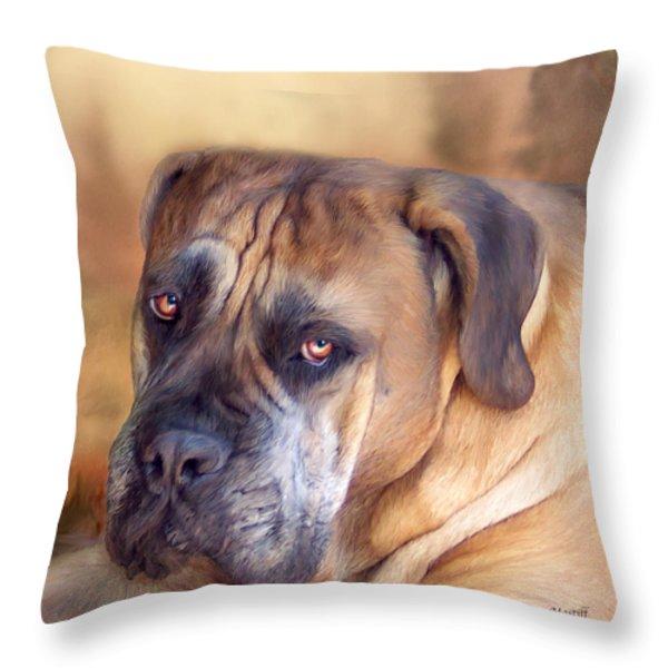 Mastiff Portrait Throw Pillow by Carol Cavalaris