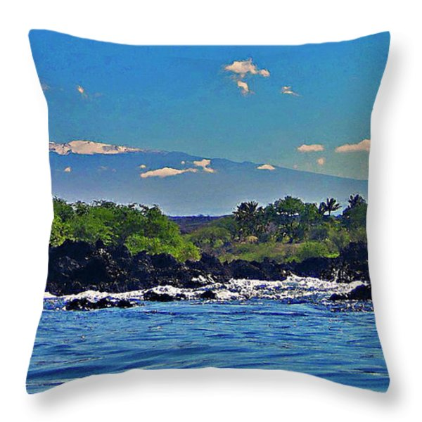 Mauna Kea With Snow Throw Pillow by Bette Phelan