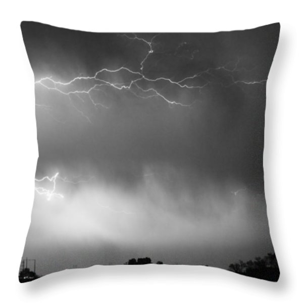 May Showers 2 in BW - Lightning Thunderstorm 5-10-2011 Boulder C Throw Pillow by James BO  Insogna