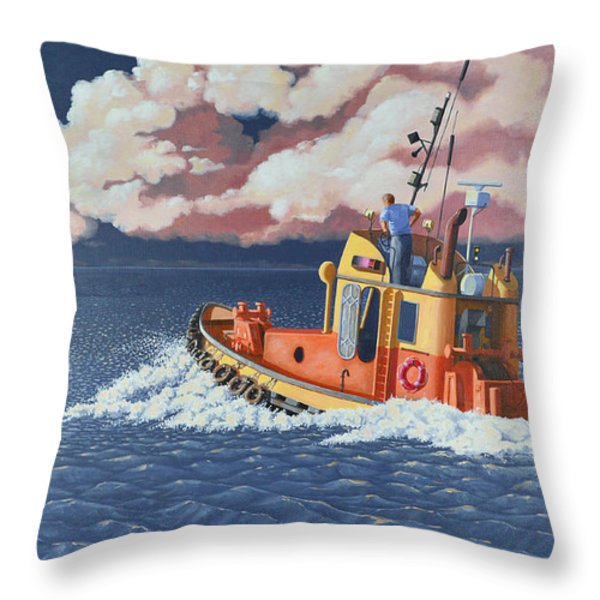 Mayday- I Require A Tug Throw Pillow by Gary Giacomelli