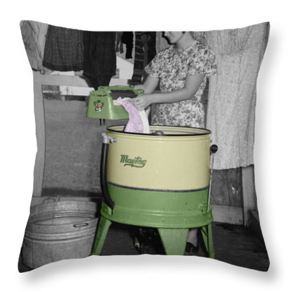 Maytag Woman Throw Pillow by Andrew Fare